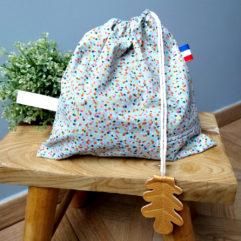 sac linge maternelle pois